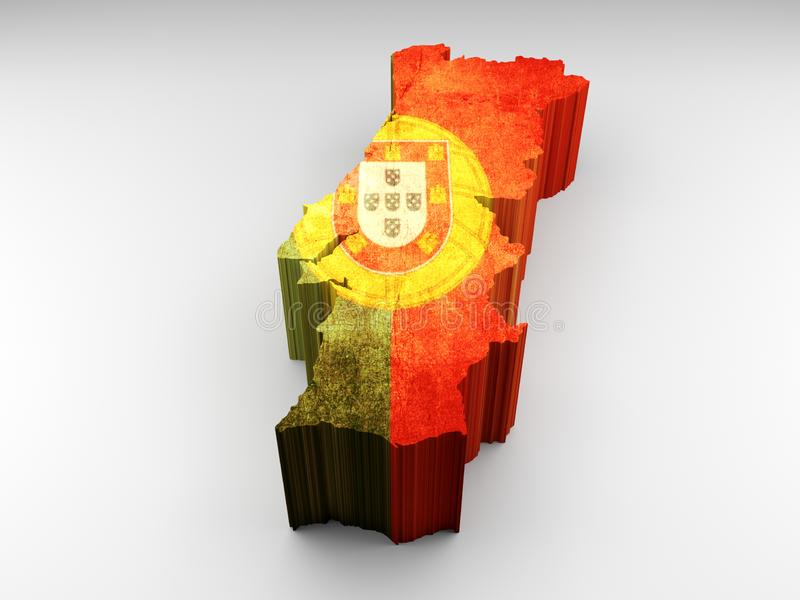 Portugal map 3d textured with a portuguese flag stock illustration
