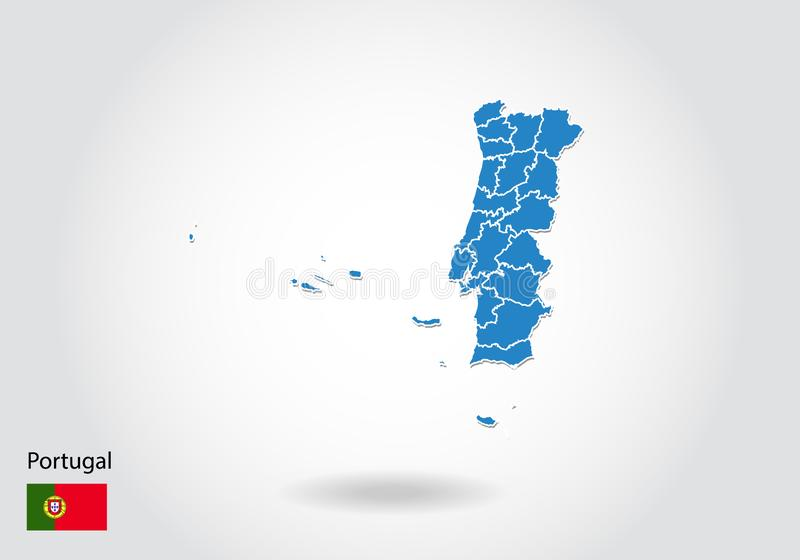 Portugal map design with 3D style. Blue Portugal map and National flag. Simple vector map with contour, shape, outline, on white stock illustration