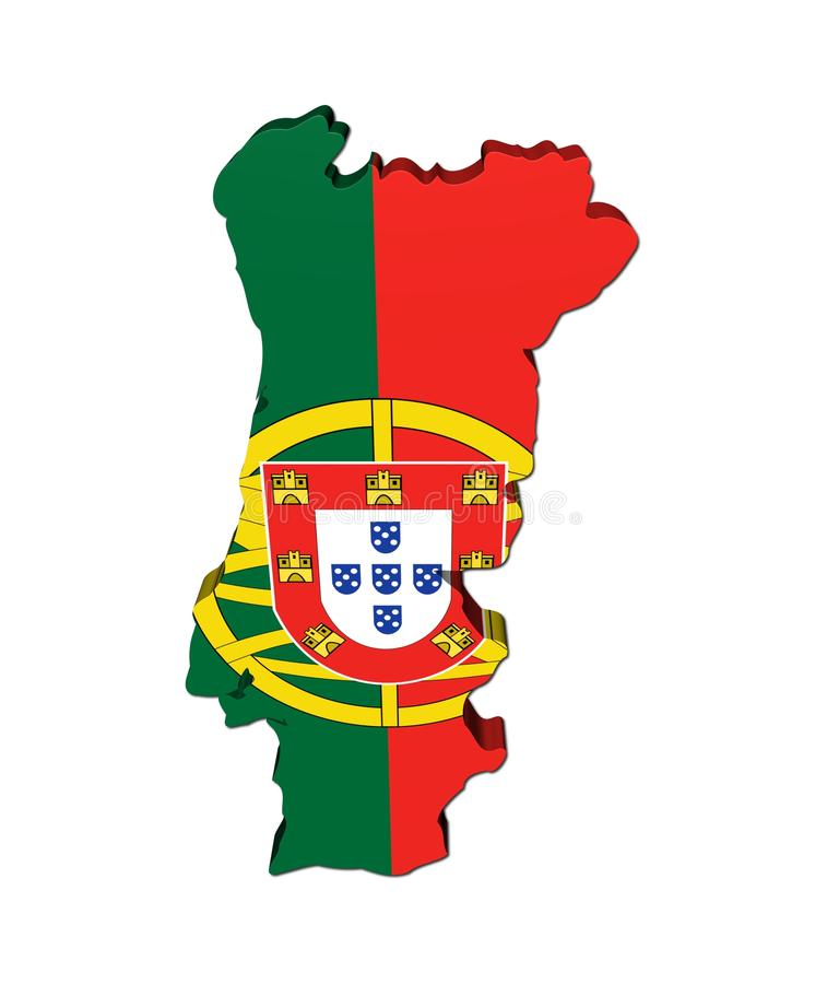 Portugal Map Flag D Render Stock Photos Image - Portugal map flag