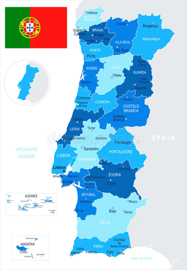 Portugal - map and flag illustration. Portugal map and flag - illustration royalty free illustration