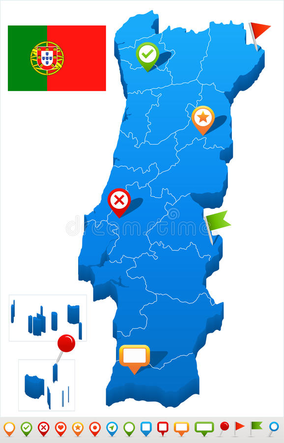 Portugal - map and flag illustration. Portugal map and flag - illustration stock illustration