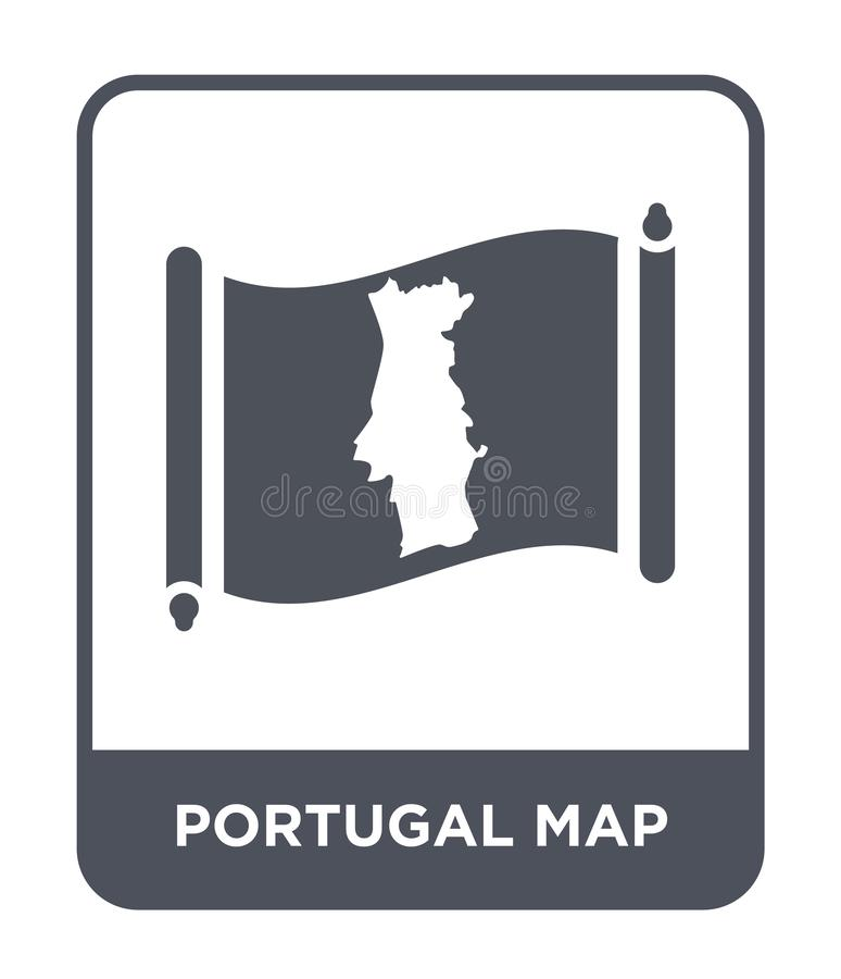 Portugal map icon in trendy design style. portugal map icon isolated on white background. portugal map vector icon simple and. Modern flat symbol for web site vector illustration