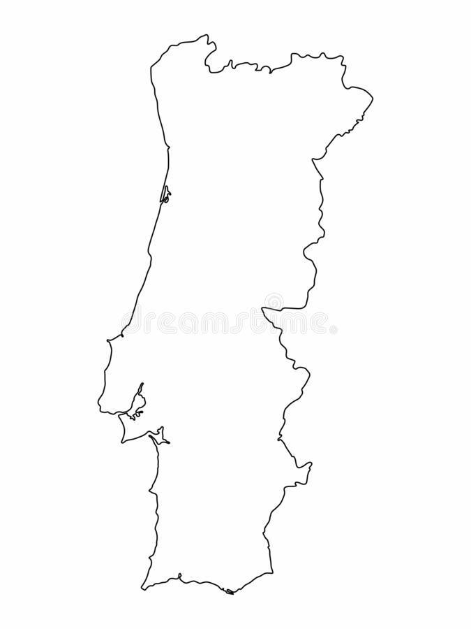 Portugal map outline graphic freehand drawing on white background. Vector illustration. Portugal map outline graphic freehand drawing on white background. Vector royalty free illustration