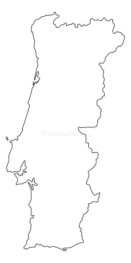 Portugal map outline vector illustration royalty free illustration