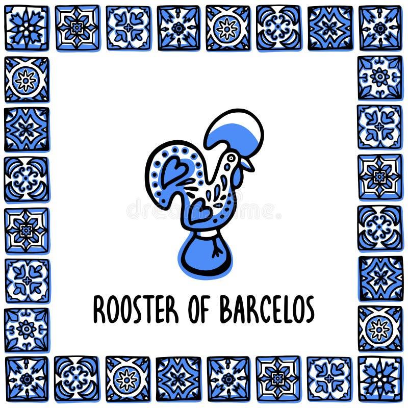 Portugal-Marksteinsatz Hahn von barcelos, Symbol von Portugal Sooster im Rahmen von portugiesischen Fliesen Laptop- und Blinkenle lizenzfreie abbildung