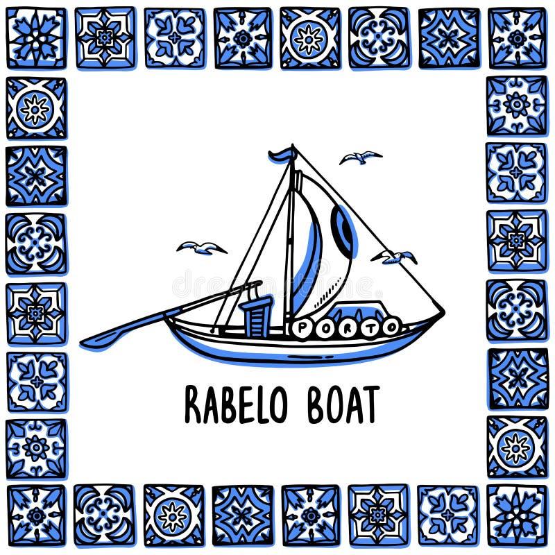 Portugal-Marksteinsatz Rabelo-Boot, Weinboot Traditionelles Porto-Boot im Rahmen von portugiesischen Fliesen, azulejo Handdrawn lizenzfreie abbildung
