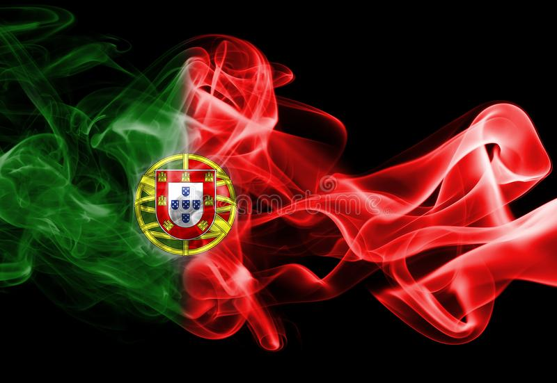 Portugal national smoke flag royalty free stock photo