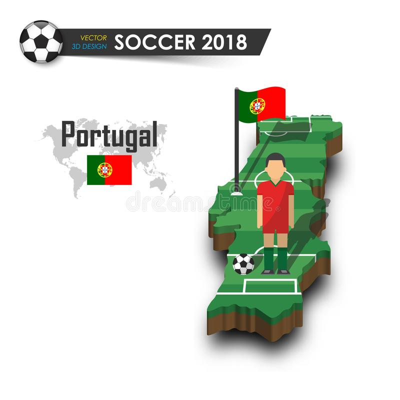 Portugal national soccer team . Football player and flag on 3d design country map . isolated background . Vector for international vector illustration