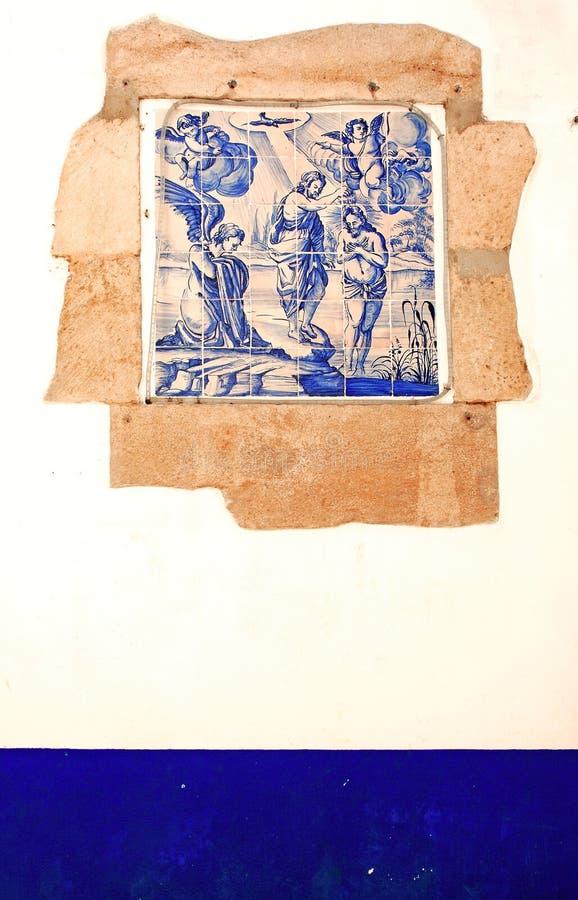 Portugal Obidos; decoratie op een muur, azulejos stock afbeelding