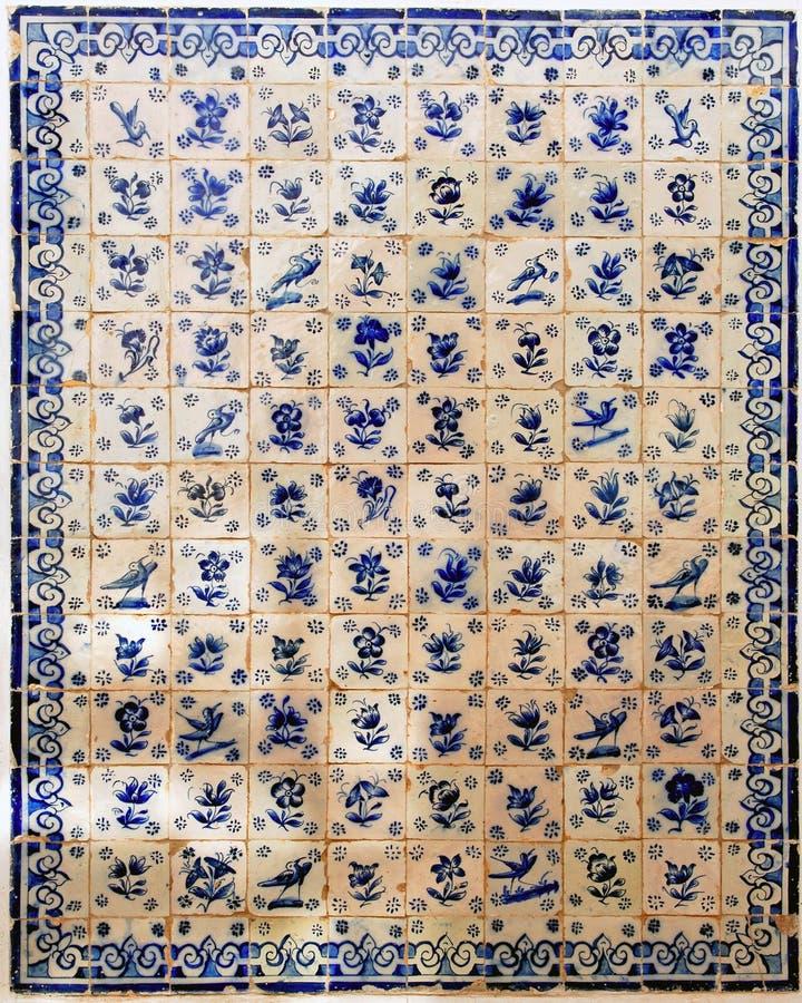 Portugal Obidos; decoratie op een muur, azulejos royalty-vrije stock afbeelding