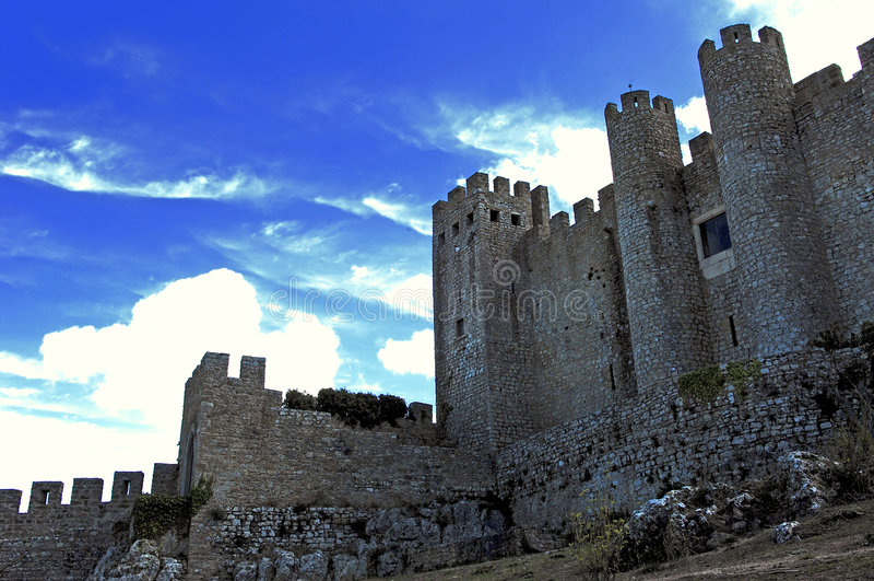 Portugal Obidos; fortaleza da cidade fotografia de stock