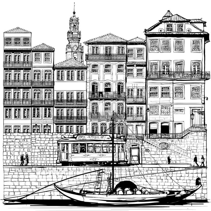 Portugal, old Porto and traditional boat. Vector illustration royalty free illustration