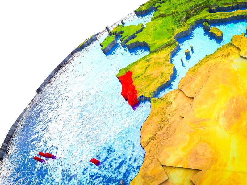 Portugal op 3D Aarde vector illustratie