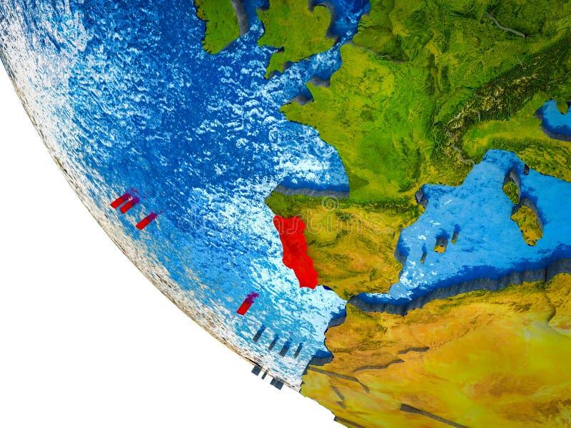 Portugal op 3D Aarde royalty-vrije illustratie