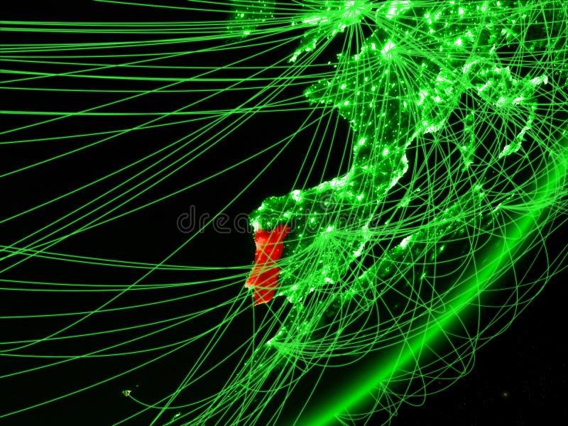 Portugal op groene Aarde stock illustratie