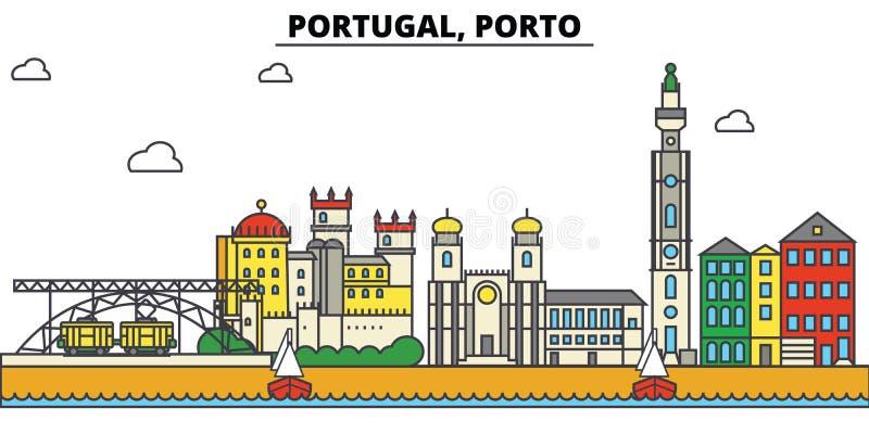 Portugal, Oporto Arquitectura del horizonte de la ciudad editable ilustración del vector