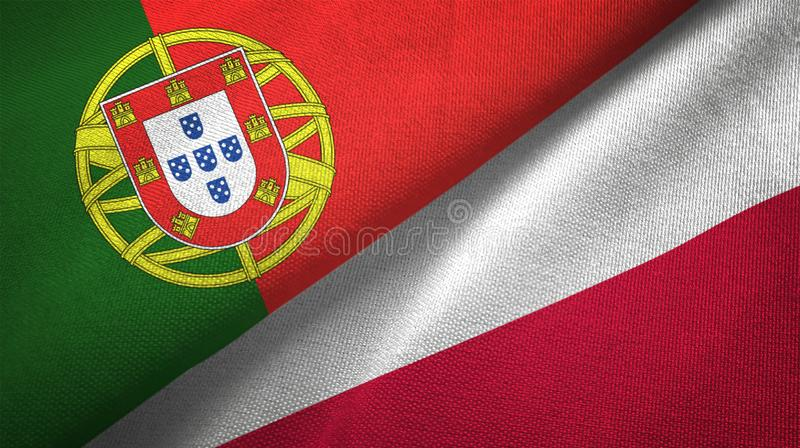 Portugal and Poland two flags textile cloth, fabric texture royalty free illustration