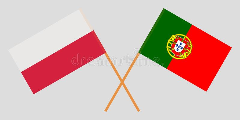 Portugal and Poland. The Portuguese and Polish flags. Official colors. Correct proportion. Vector vector illustration