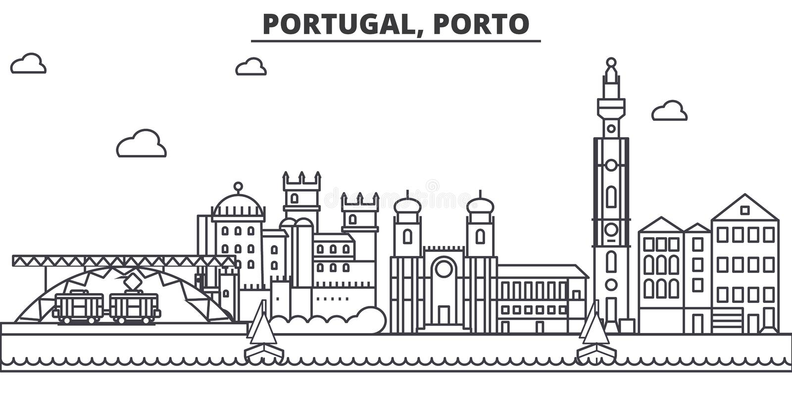 Portugal, Porto architecture line skyline illustration. Linear vector cityscape with famous landmarks, city sights. Design icons. Editable strokes stock illustration