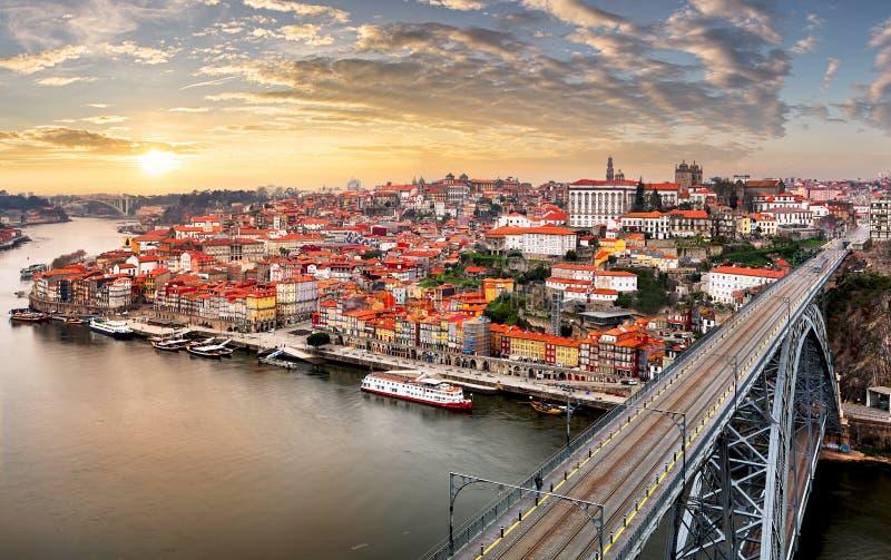 Portugal - Porto bij zonsondergang royalty-vrije stock afbeelding