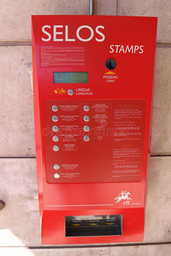 Portugal Post Stamp Machine - royalty free stock images