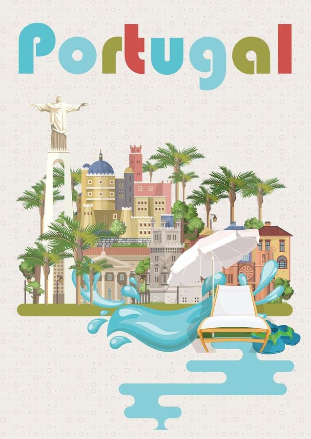 Portugal-Reisevektorplakat in der modernen flachen Art mit Lissabon-Gebäuden und portugiesischen Andenken stock abbildung