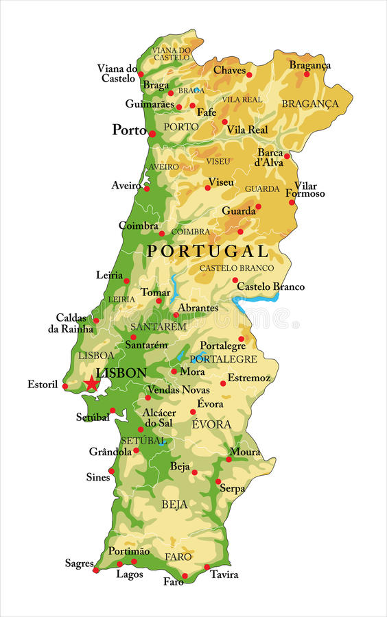 Portugal relief map. Highly detailed physical map of Portugal, in vector format, with all the relief forms, regions and big cities vector illustration