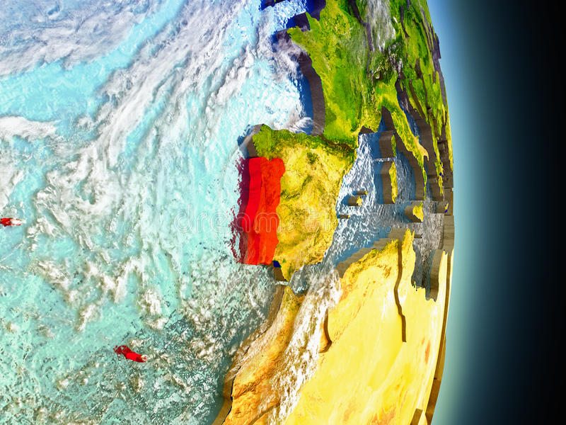Portugal in rood van ruimte stock illustratie