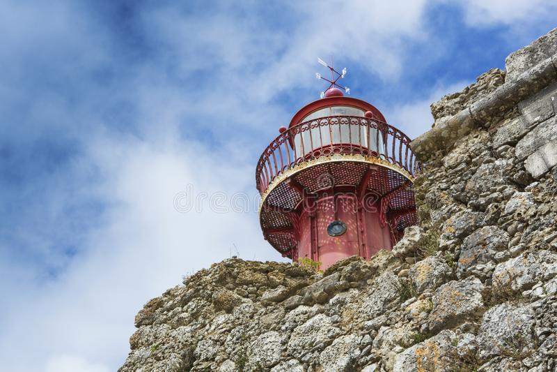 PORTUGAL- - SANTA CATARINA-LEUCHTTURM IN FIGUEIRA DA FOZ - 7. AUGUST 2014 stockfotos
