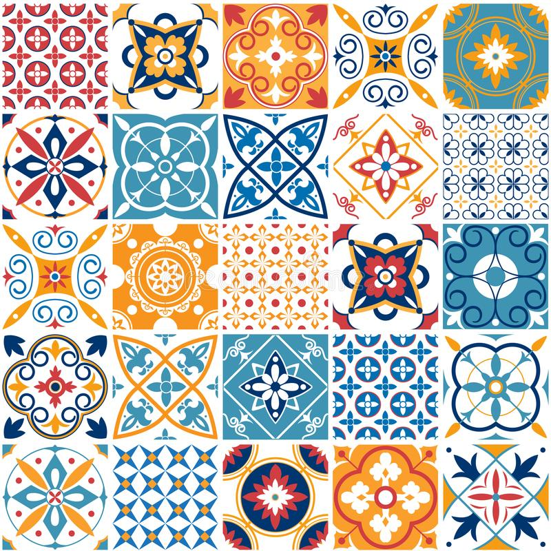 Free Portugal Seamless Pattern. Vintage Mediterranean Ceramic Tile Texture. Geometric Tiles Patterns And Wall Print Textures Stock Photos - 120771563