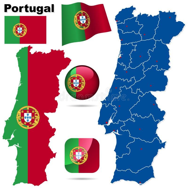 portugal set vektor stock illustrationer