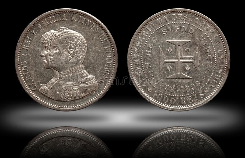 Portugal silver coin thousend 1000 reis minted 1898 Carlos and Amelia royalty free stock images