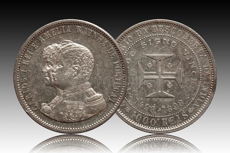 Portugal silver coin thousend 1000 reis minted 1898 Carlos and Amelia isolated on gradient background stock image