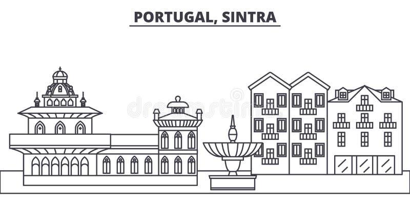 Portugal, Sintra-de vectorillustratie van de lijnhorizon Portugal, lineaire cityscape van Sintra met beroemde oriëntatiepunten, s royalty-vrije illustratie