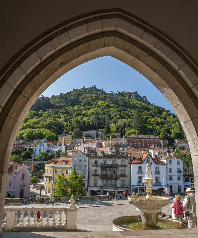 Portugal, Sintra Vista da cidade imagem de stock