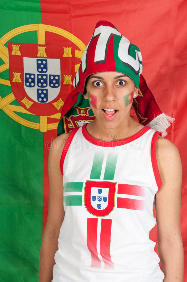 Portugal soccer fan royalty free stock photos