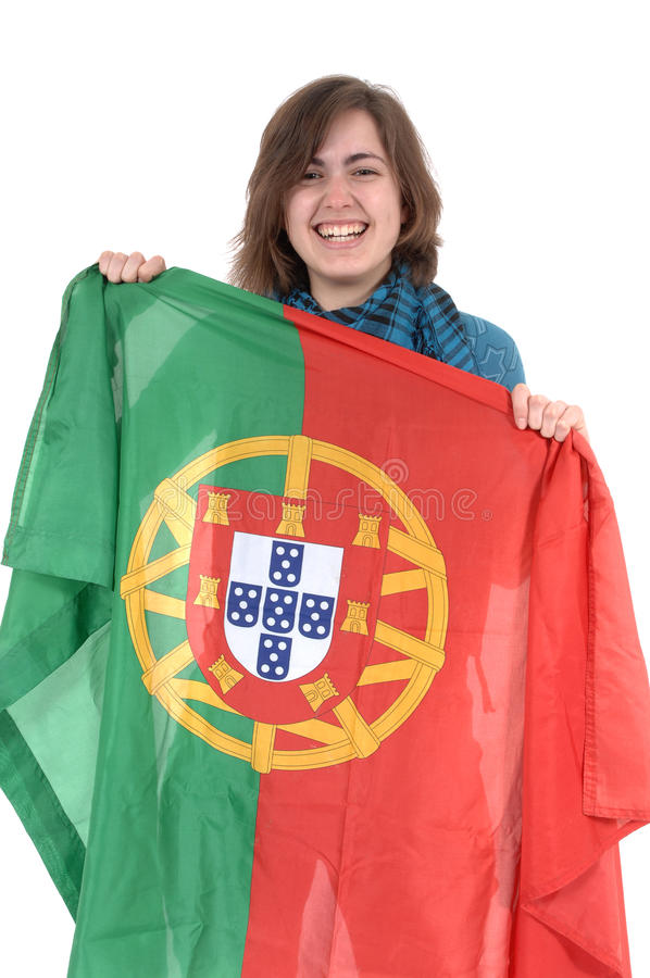 Portugal Soccer fan, isolated on white background royalty free stock photos