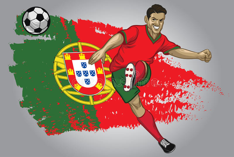 Portugal soccer player with flag as a background stock illustration