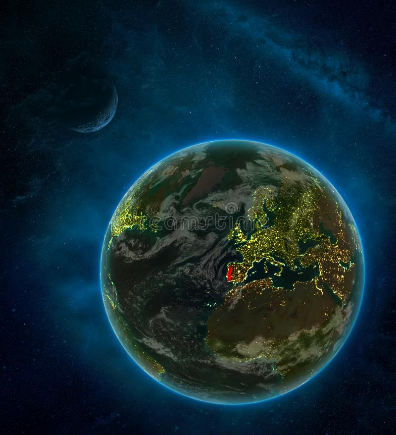 Portugal from space on Earth at night surrounded by space with Moon and Milky Way. Detailed planet with city lights and clouds. 3D. Illustration. Elements of royalty free illustration