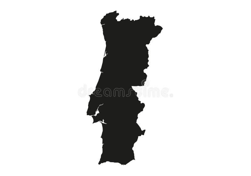 Portugal-Staats-Karten-Vektorschattenbild vektor abbildung