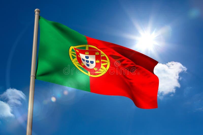 Portugal-Staatsflagge auf Fahnenmast lizenzfreie abbildung