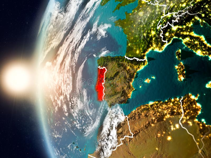 Portugal tijdens zonsondergang ter wereld royalty-vrije illustratie