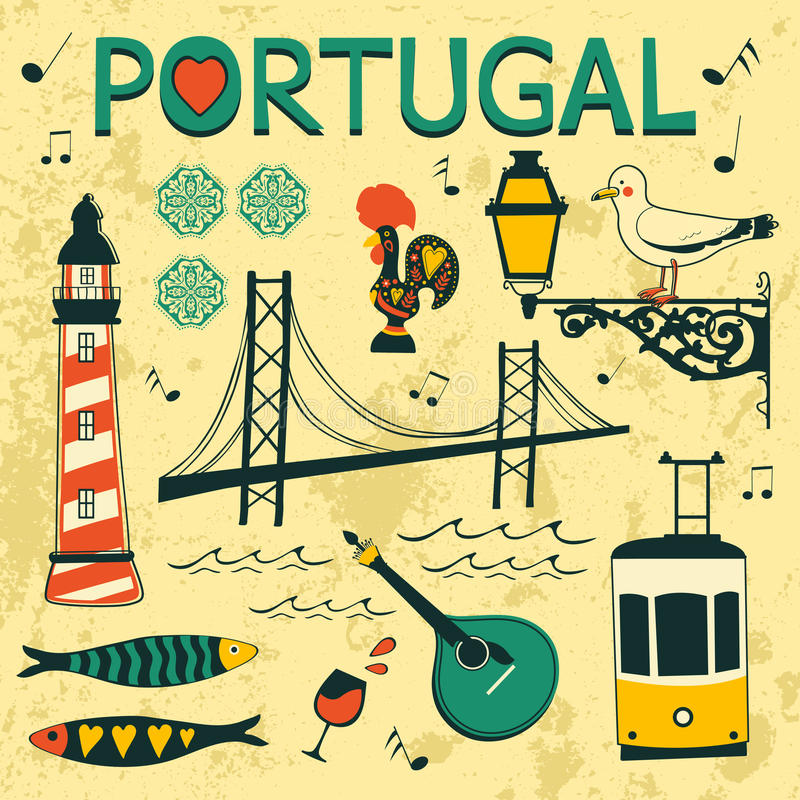 Portugal tipical icons collection stock illustration