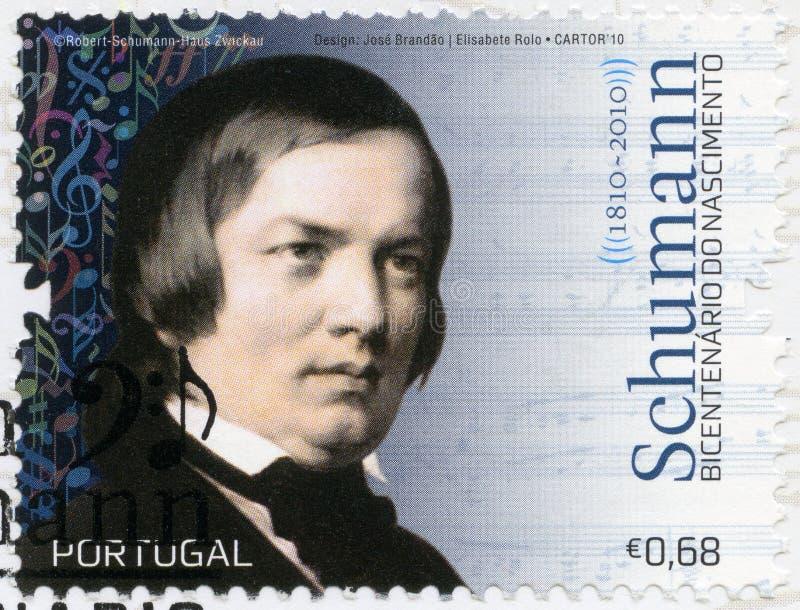 PORTUGAL - 2010: toont de pianist van Robert Schumann 1840-1893, van de componist en van de virtuoos stock afbeeldingen