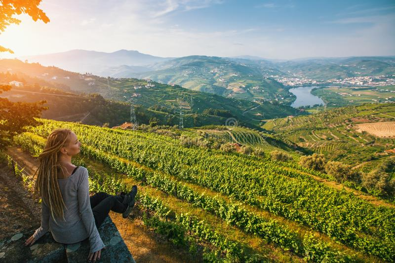 Portugal. Top view of river, and the vineyards are on a hills. stock photography