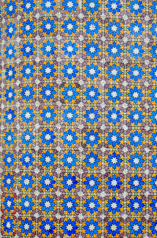 Portugal traditional azulejos tiles in Pena Palace. Wall mosaic art decoration. Portuguese pattern. Blue background royalty free stock photography