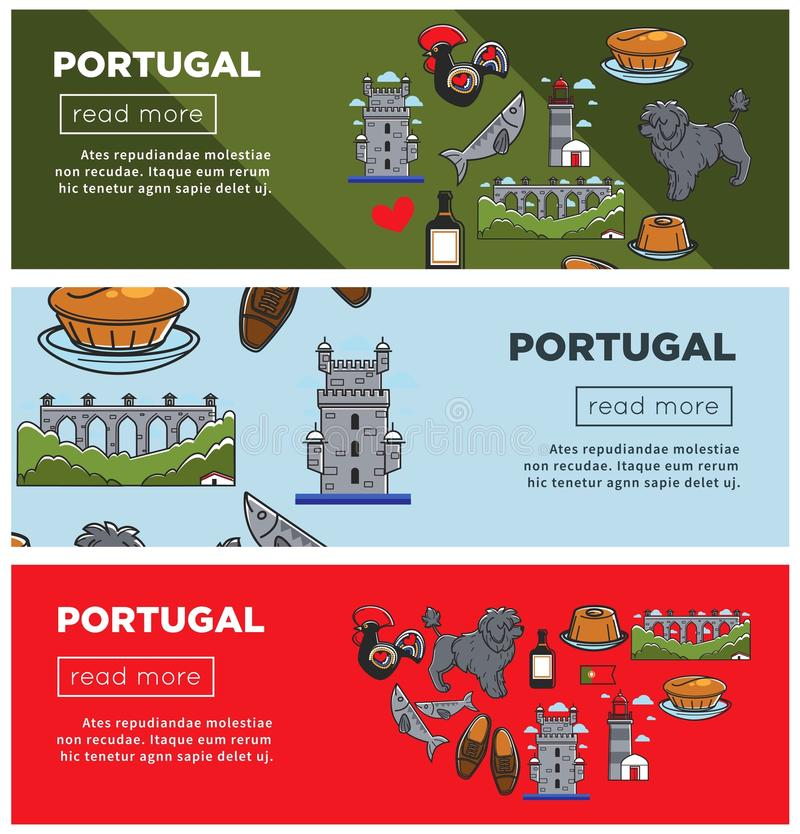 Portugal travel landmark symbols vector banners. Portugal travel banners of famous Portuguese landmarks and culture art symbols. Vector Portugal flag, cuisine stock illustration