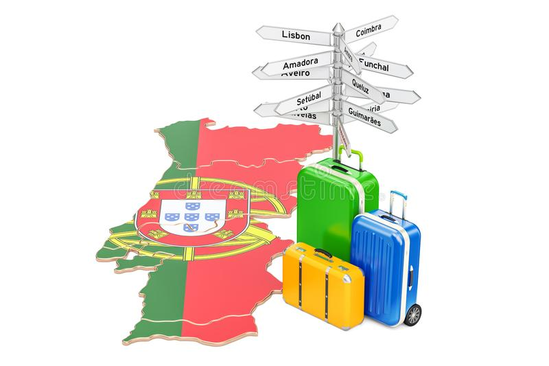 Portugal travel concept. Portuguese map with suitcases and signpost, 3D rendering. Portugal travel concept. Portuguese map with suitcases and signpost, 3D royalty free illustration