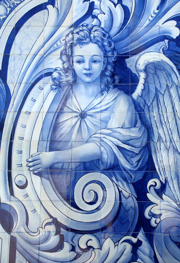 Portugal. Typical blue and white `azulejo` tiles depicting an angel. Portugal. Typical historical blue and white ceramic `azulejo` tiles depicting an angel stock photos