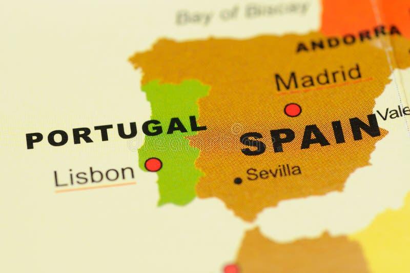 Portugal und Spanien auf Karte lizenzfreies stockfoto